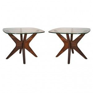 "Pair of Adrian Pearsall Glass Top ""Jack"" tables for Craft Associates (3/4"" Plate Glass Tops)"
