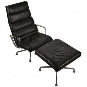 eames soft pad leather lounge chair and ottoman