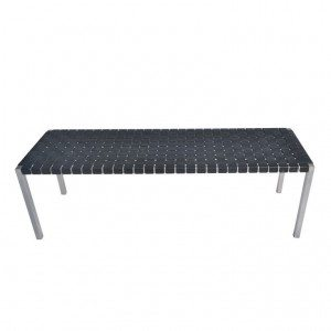 Steel frame bench with leather web seat