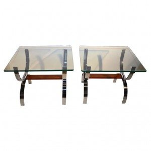 Pair Glass top chrome U base tables attributed to Milo Baughman