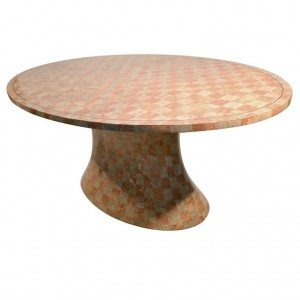 Large Oval top pedestal base tessellated stone table