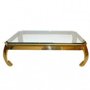 Elegant  Cast Brass and Plate Glass Italian Coffee Table