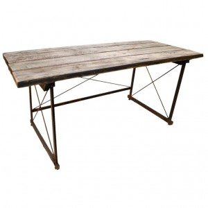 "Industrial Desk / Console Table with ""X"" form steel base"