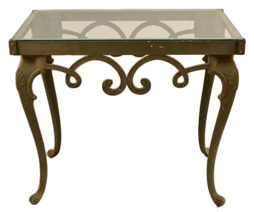Brown Jordan Glass Top Console Table Ca 1960s. Classical Style Cast Aluminum  Base With Shell Carved Cabriole. Original Glass Top Included But It Has A  Small ...