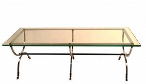 Polished Steel Brass and Glass Coffee Table after Jansen